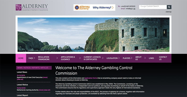 Homepage der Alderney Gambling Control Commission