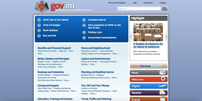 Homepage der Isle of Man Gambling Supervision Commission