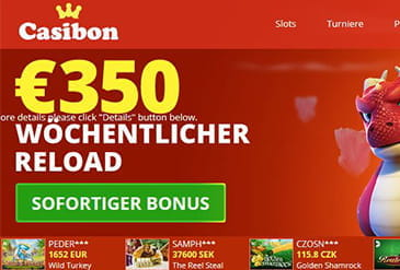 Homepage vom Casibon Casino