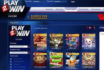 Vorschaubild Lobby Play2Win Casino
