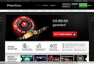 Die Pokerstars Webseite mit Software Download