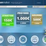 Sunmaker Webseite mit Infos zum Bonus Angebot.