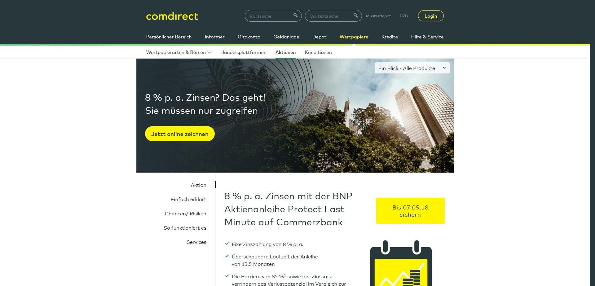 Zinsen Comdirect