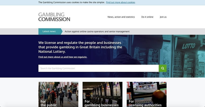 Gambling Commission Webseite.