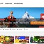 Die Startseite vom Online Casino Jackpots.ch.
