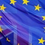Gemischte Flagge Europa und Großbritannien.