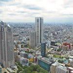 Die japanische Stadt Tokio aus der Luft.