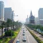 Straße in der Stadt Macau.
