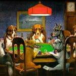 Sieben gezeichnete Hunde sitzen zusammen an einem Tisch und spielen Poker.
