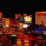 Die Casinos Palazzo, Venetian und Mirage von Las Vegas.