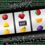 Auf einem Spielautomaten befinden sich drei Walzen, die Früchte- und das Barsymbol.