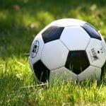 Auf einem Rasen liegt ein Fußball.
